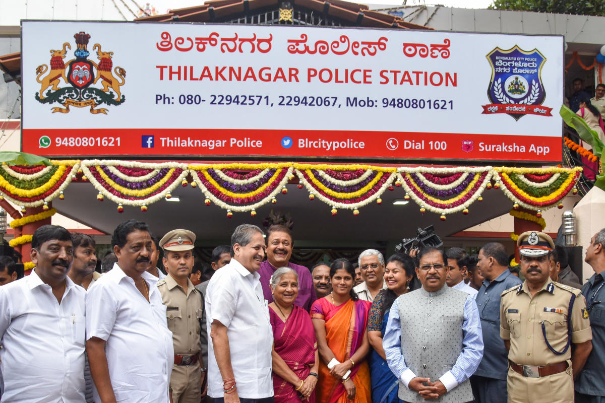 The police station has been renovated with tiled flooring, a new lock-up, resting rooms built for police staff along with separate toilet facilities, a borewell and a compound wall for the station. (DH Photo)