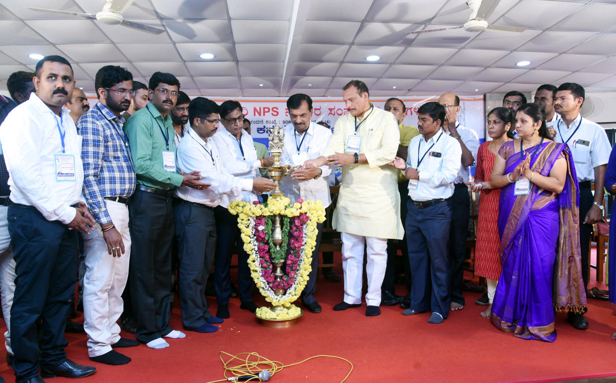 MLCs Ivan D'Souza, Ayanur Manjunath and S L Bhoje Gowda inaugurate the NPS Employees district convention and 12th executive committee meeting in Mangaluru on Sunday.