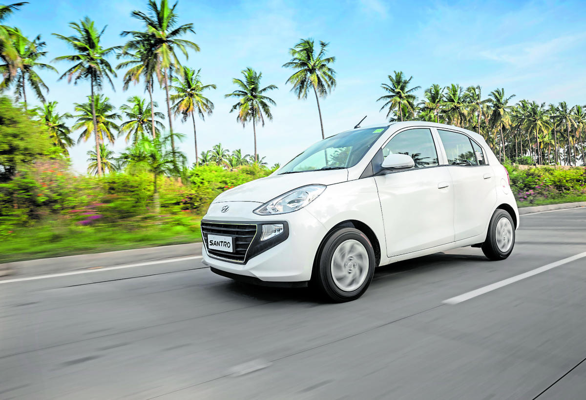Stylish: The all-new Santro. photos by Shameer Asif Me
