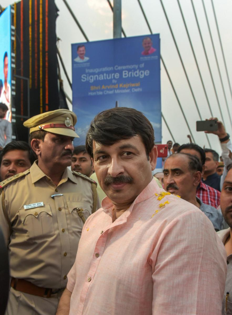 New Delhi: Delhi BJP President Manoj Tiwari after he was not permitted to go to the stage during the inauguration of the Signature Bridge over Yamuna river at Wazirabad in New Delhi, Sunday, Nov 4, 2018. The Signature Bridge, India's first asymmetrical ca