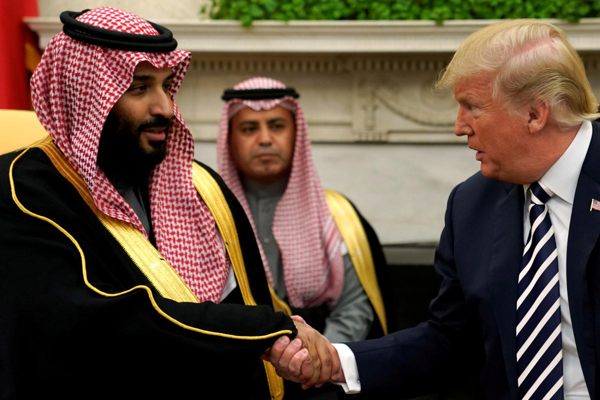 US President Donald Trump with Saudi Arabia's Crown Prince Mohammed bin Salman at the White House. Reuters File Photo