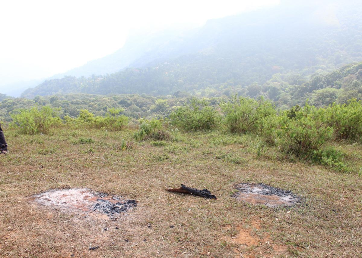The remains of fire camps at Ballalarayana Durga Reserve Forest.