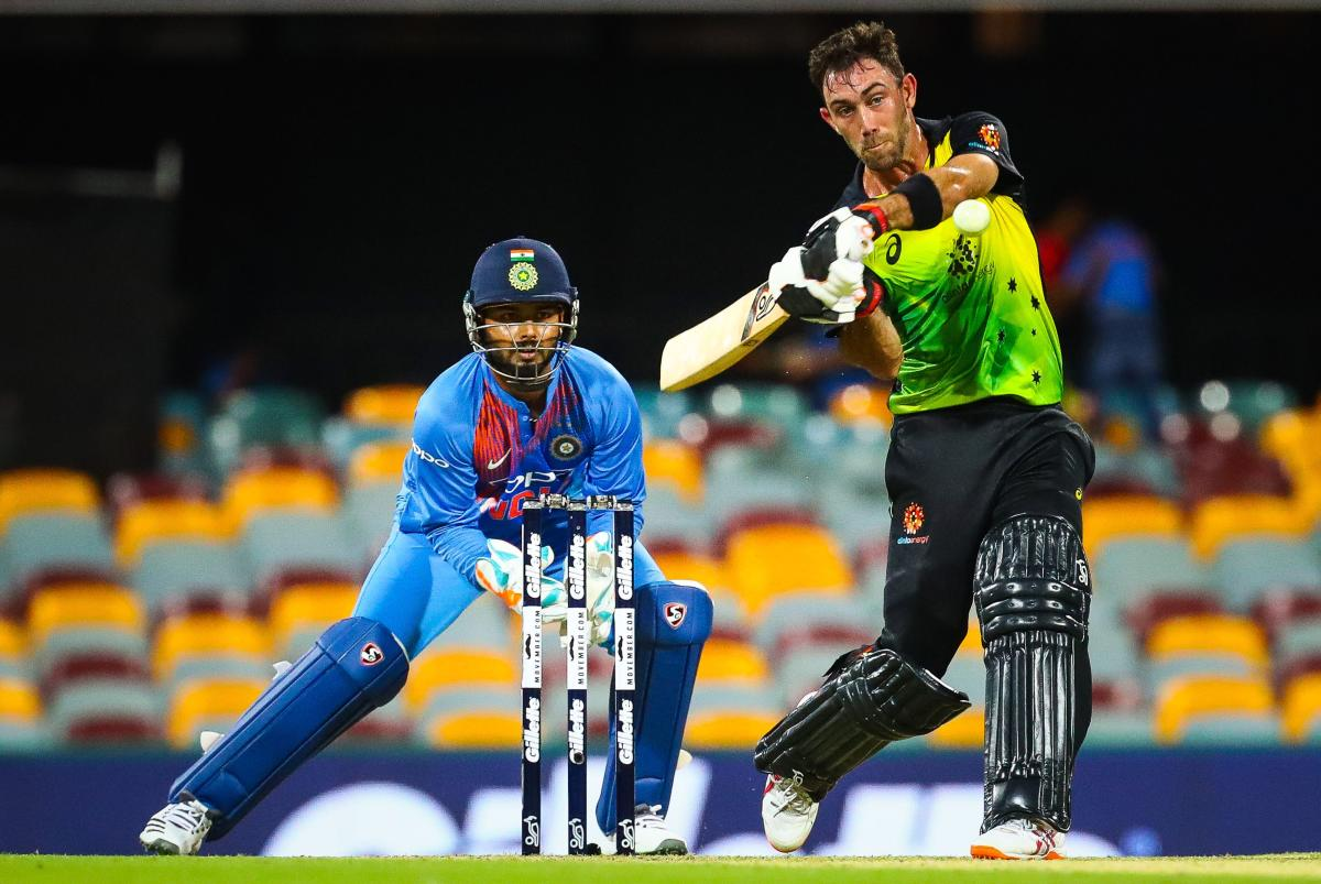 Australia's Glenn Maxwell in an aggressive mood during his 46 in the first T20 International on Wednesday. AFP