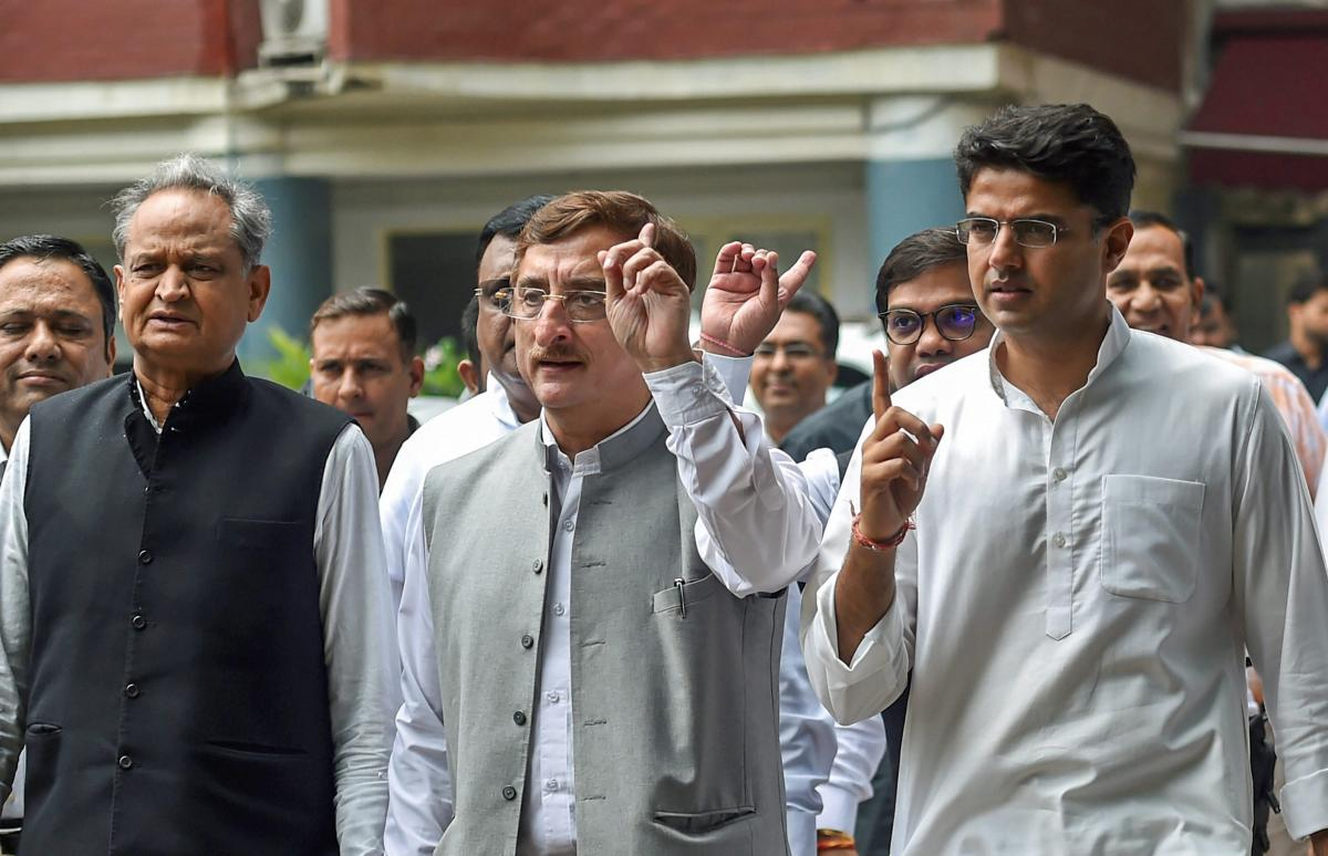Congress Party leaders Ashok Gehlot, Avinash Pandey, Sachin Pilot, CP Joshi, Vivek Tankha and others leave after a meeting with the election commissioner at Nirvachan Sadan, in New Delhi on Tuesday. PTI