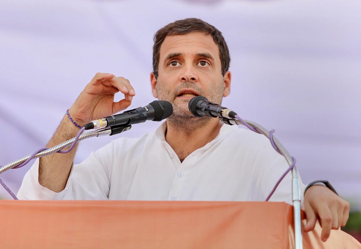 Mandla: Congress President Rahul Gandhi addresses a public rally at Mahatma Gandhi Stadium Ground ahead of the State Assembly elections in Mandla district, Friday, Nov. 16, 2018. (Handout Photo via PTI)