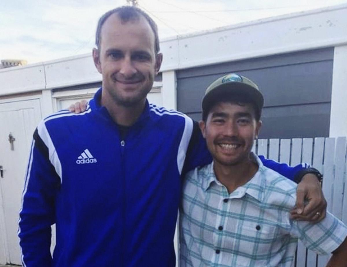 In this October 2018 photo, American adventurer John Allen Chau, right, stands for a photograph with Founder of Ubuntu Football Academy Casey Prince, 39, in Cape Town, South Africa, days before he left for in a remote Indian island of North Sentinel Island, where he was killed. (AP/PTI Photo)