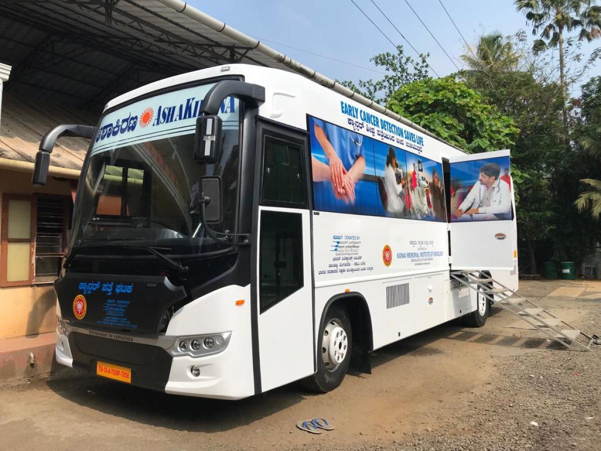 The cancer detection bus donated to Kidwai hospital by BEL.