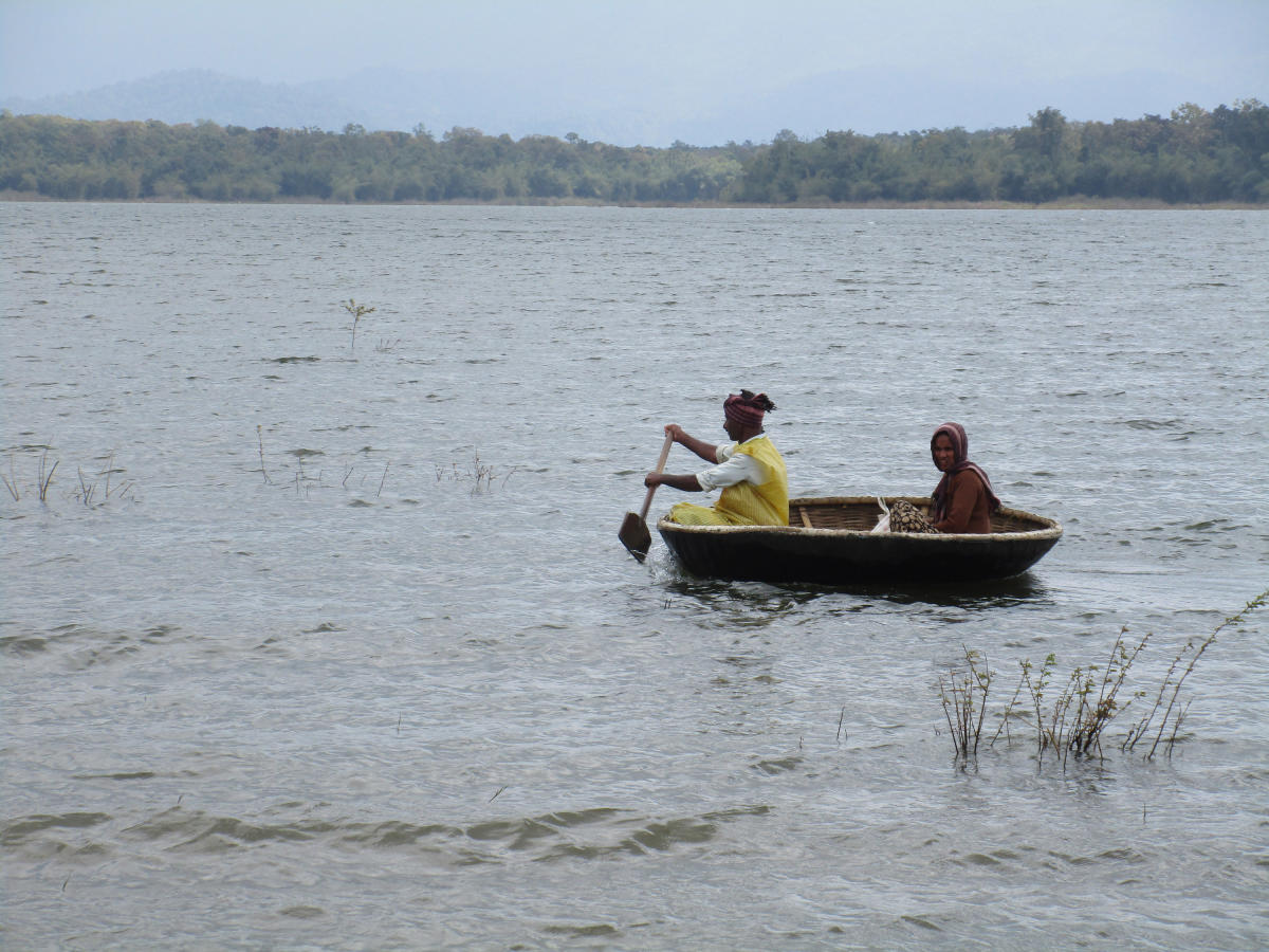 Fishermen engaged in fishing using a coracle in the backwaters of Bhadra Dam, at Ravooru in N R Pura taluk.