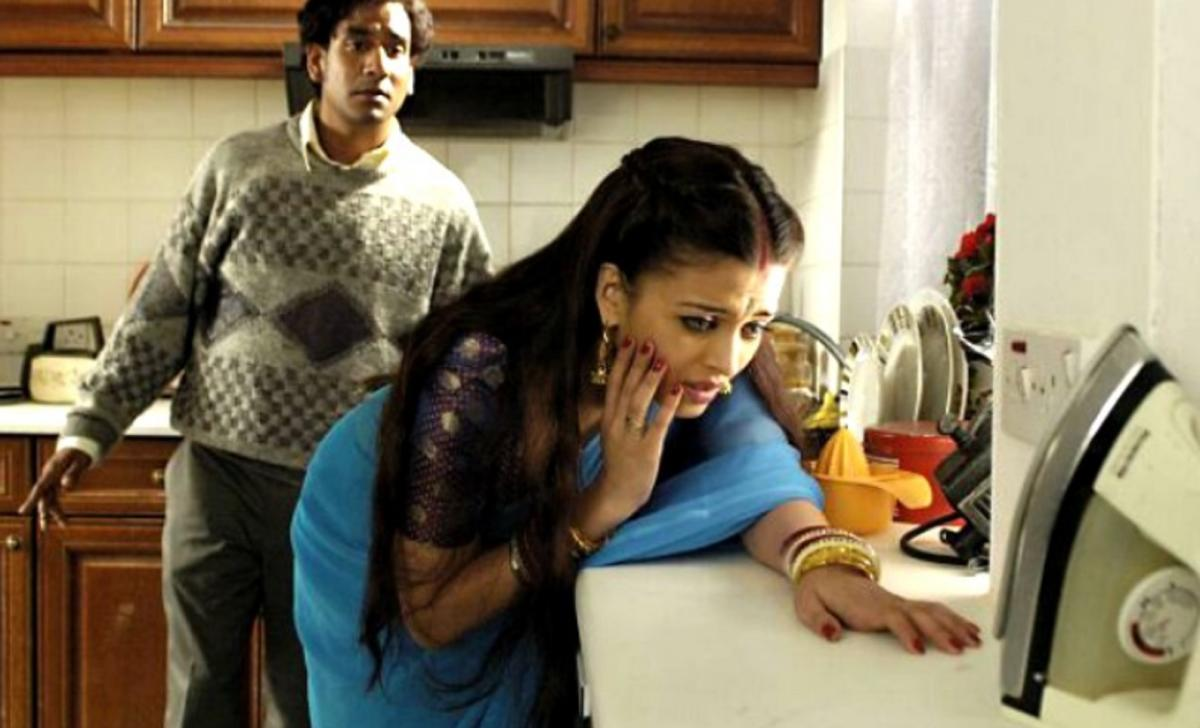 Many films show scenes of domestic violence. This scene is from Bollywood production Provoked.
