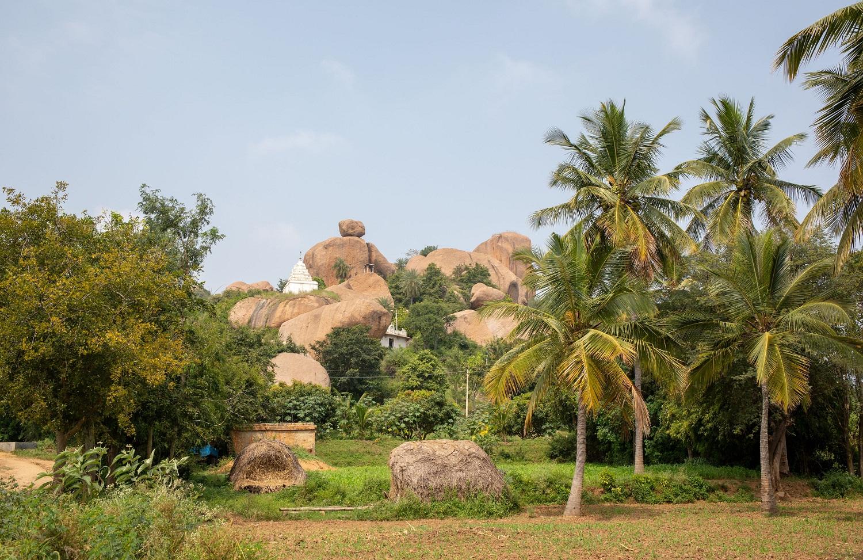 The white gopuram of Kaleshwara Temple