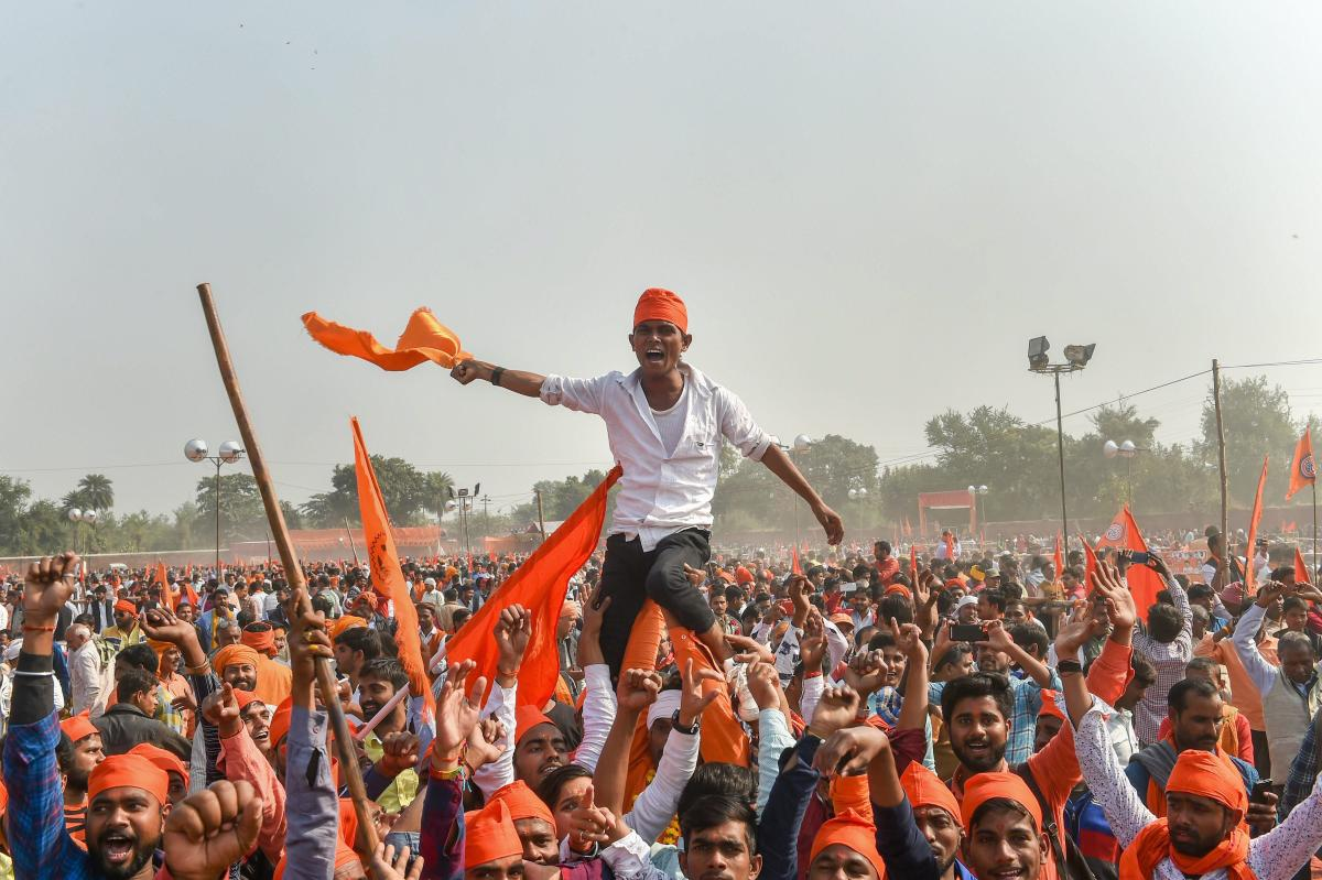 Supporters participate in `Dharam Sabha', being organised by the Vishwa Hindu Parishad to push for the construction of the Ram temple, in Ayodhya, Sunday, Nov. 25, 2018. (PTI Photo)