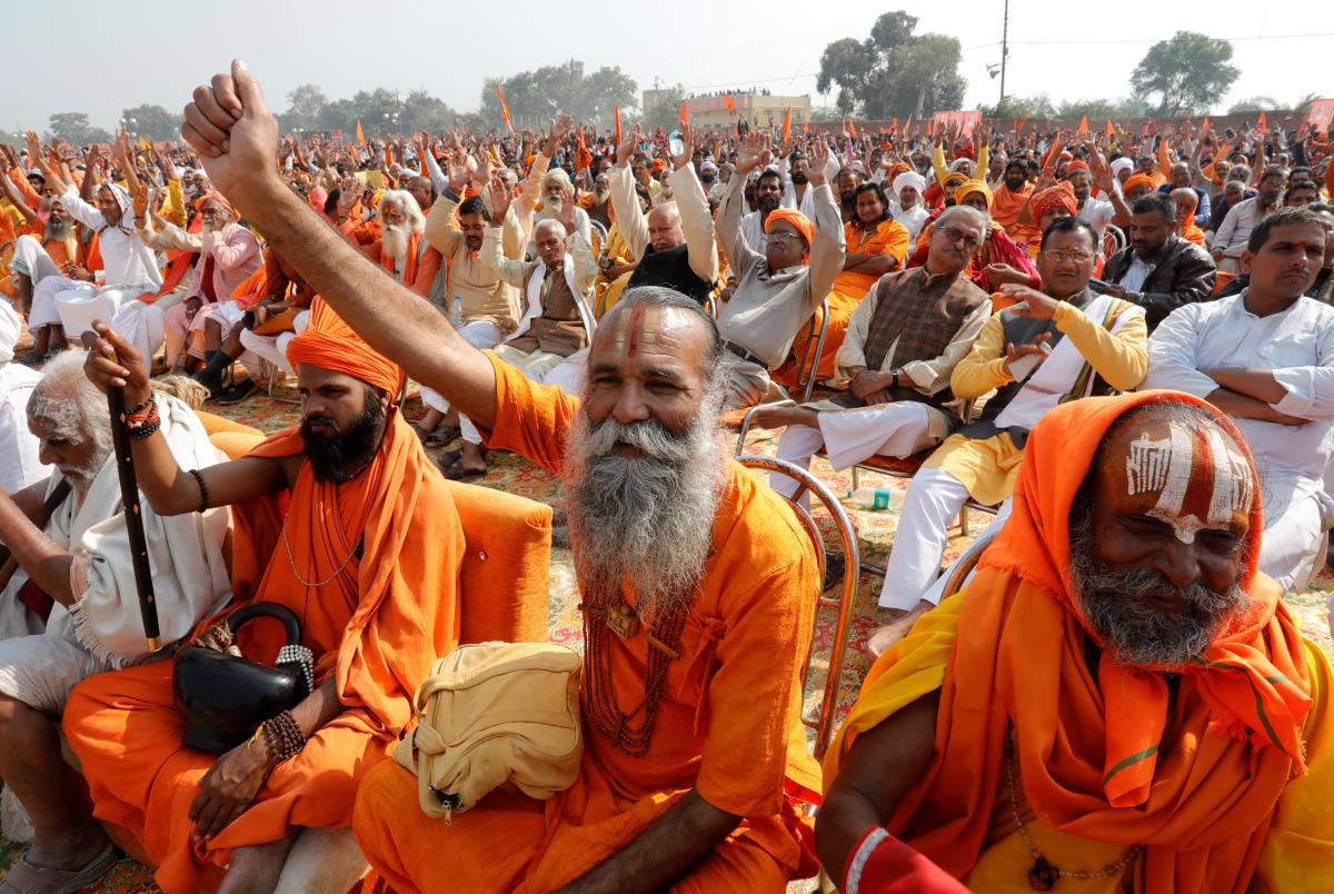 "Sadhus or Hindu holymen shout slogans during ""Dharma Sabha"" or a religious congregation organised by the Vishva Hindu Parishad (VHP), a Hindu nationalist organisation, in Ayodhya, Uttar Pradesh, India, November 25, 2018. REUTERS/Pawan Kumar"