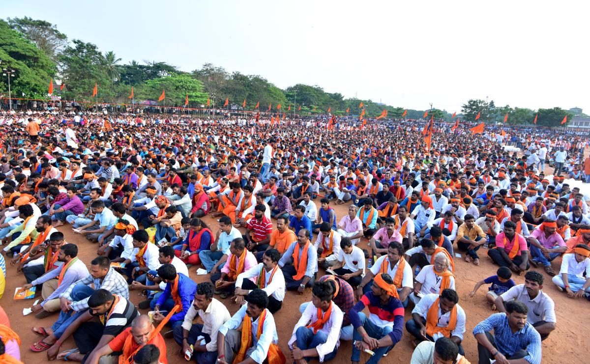 People take part in Janagraha Convetion held at Nahru Maidan in Mangaluru on Sunday.