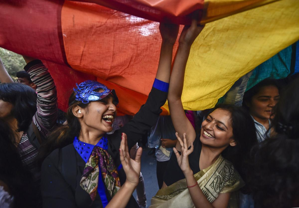 New Delhi: Members and supporters of the LGBT groups during Delhi's Queer Pride march, in New Delhi, Sunday, Nov. 25, 2018. (PTI Photo/Ravi Choudhary) (PTI11_25_2018_000214B)