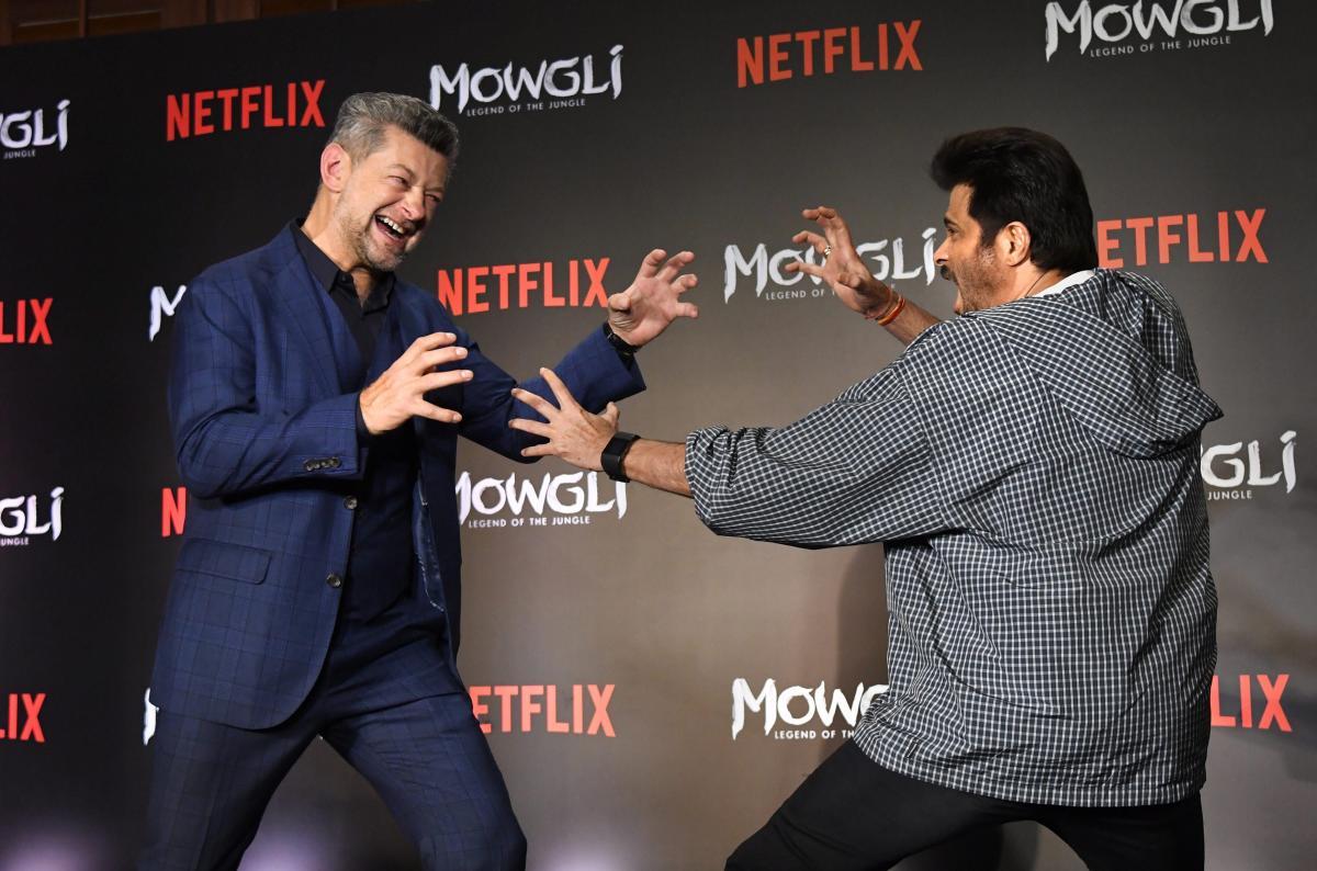Actors Andy Serkis and Anil Kapoor at the hindi trailer launch of new Netflix movie 'Mowgli', in Mumbai, Sunday, Nov. 25, 2018. (PTI Photo)