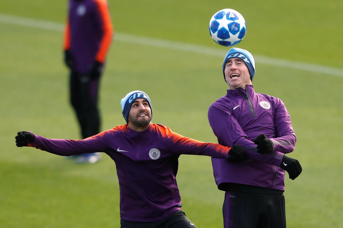 Manchester City's Riyad Mahrez (left) and Aymeric Laporte during a training session ahead of their clash against Lyon onWednesday. Reuters