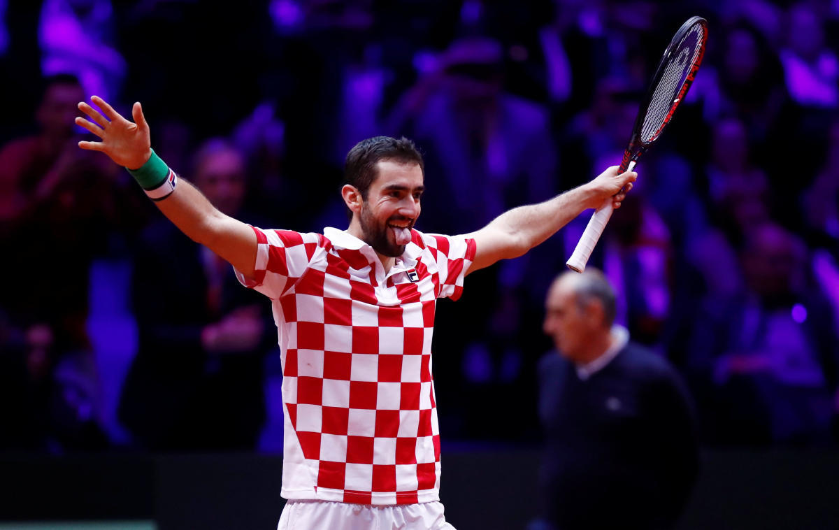 KINGS AGAIN Croatia's Marin Cilic celebrates after defeating France's Lucas Pouille on Sunday. REUTERS