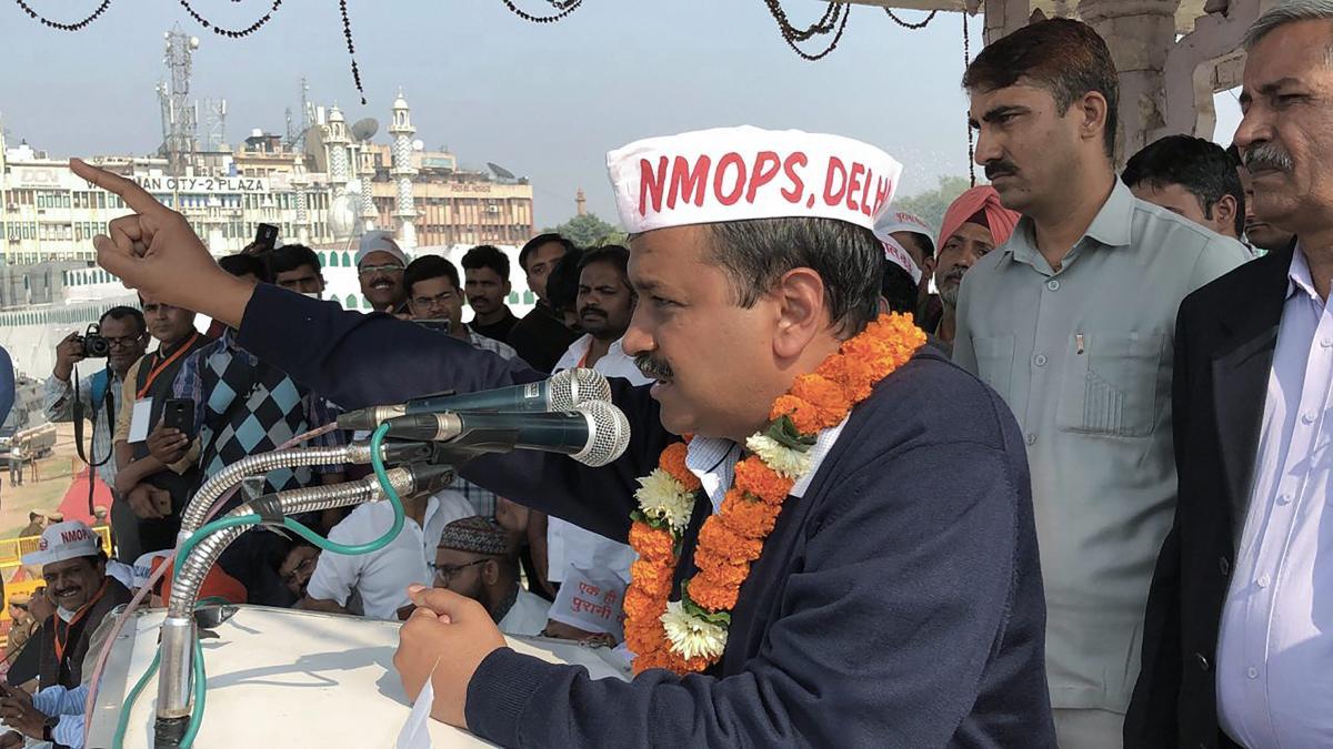 AAP National Convenor and Delhi Chief Minister Arvind Kejriwal addresses pensioners during a rally, at Ram Leela Maidan in New Delhi, Monday, Nov. 26, 2018. (PTI Photo)