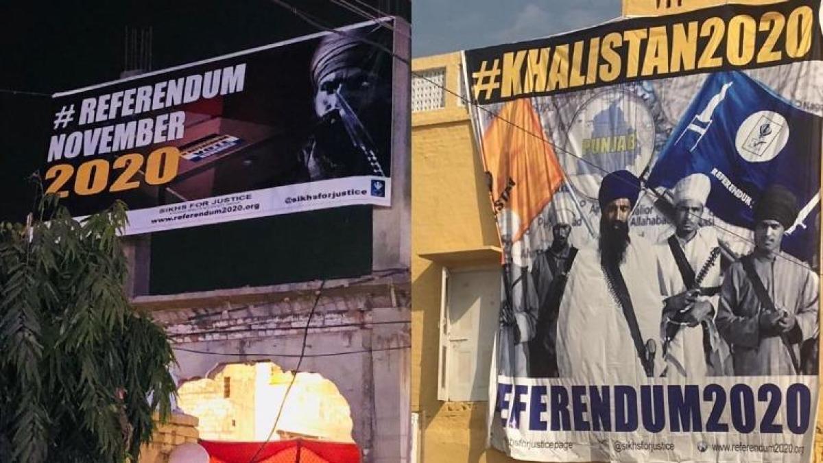 The pro-Khalistan banners put up in Nankana Sahib, Pakistan. (Photo: Twitter/sikhsforjustice)