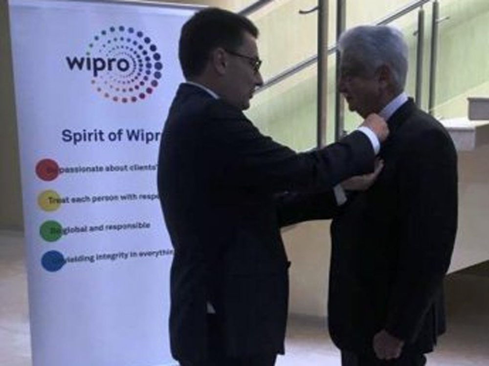 Wipro Limited Chairman Azim Premji receives the highest French civilian distinction, Chevalier de la Legion d'Honneur (Knight of the Legion of Honour), from Ambassador of France to IndiaAlexandre Ziegler, in Bengaluru on Thursday.