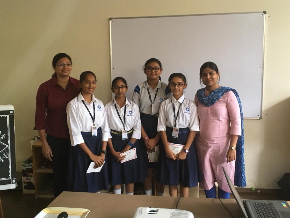 (L to R) Shruthi Y Arun (principal), Nityasree Pola, Nikkita Rosalyn Charles, Uditi Mourya, Treya Moodithaya and Swapnal Sarangarajan (senior coordinator).
