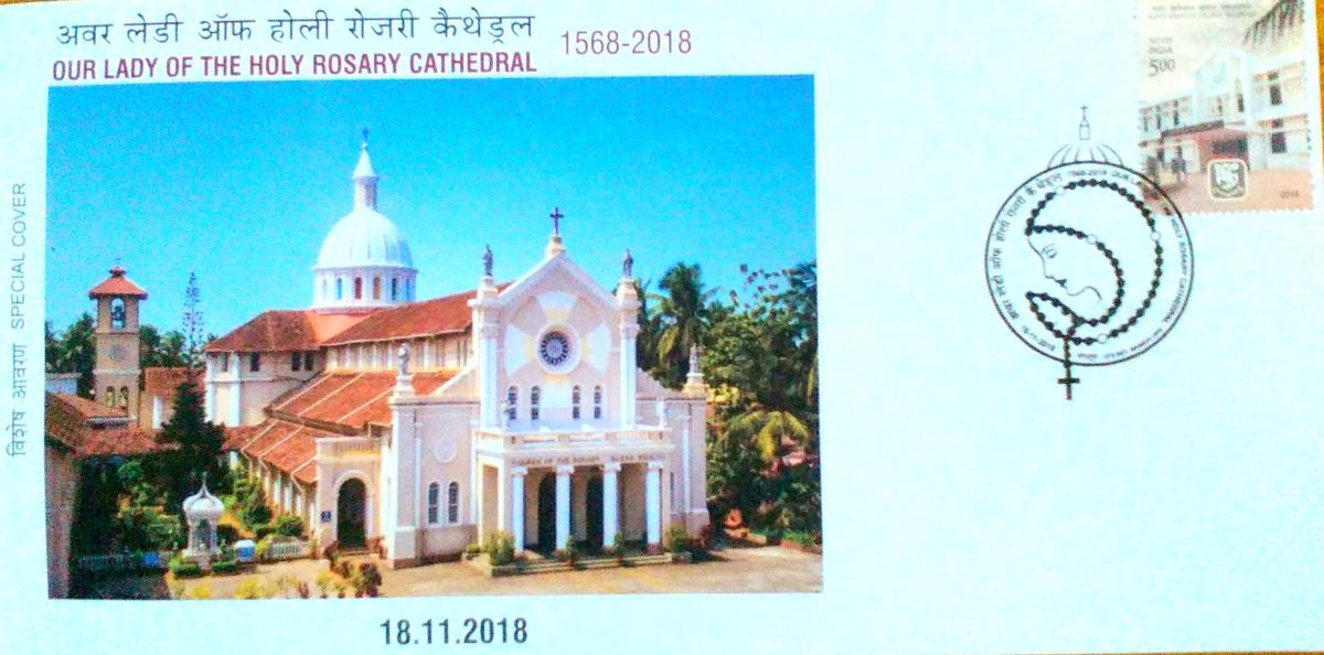 A view of the special cover on Rosario Cathedral, Mangaluru. PHOTO: I J S Shet