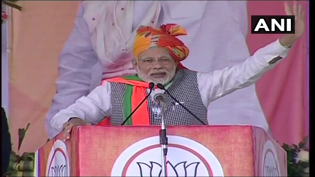 Driving home the difference between himself and the Congress leader, who he has often referred to as 'naamdar' (dynast), he said he was like the people and was not born with a golden spoon. (ANI Photo)