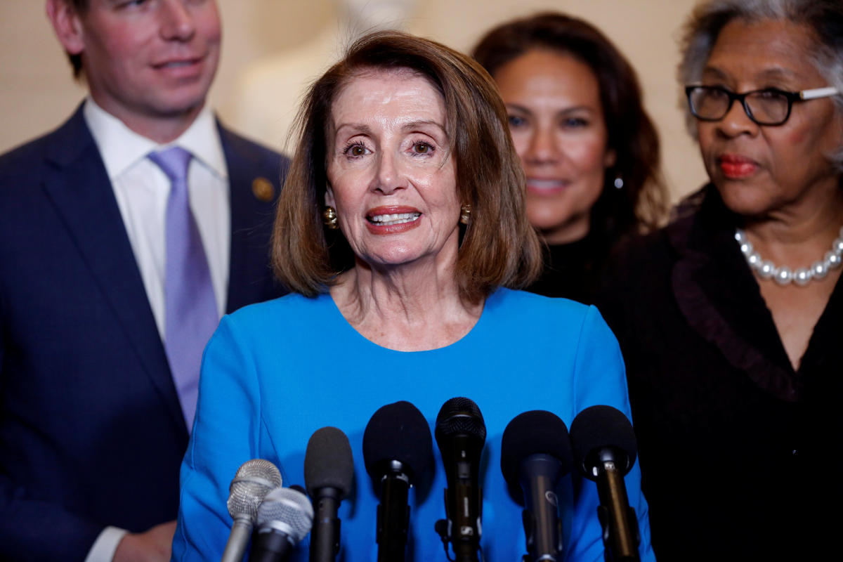 House Minority Leader Nancy Pelosi (D-CA) speaks during a break in a House Democratic Caucus meeting where she was nominated to be Speaker of the House for the 116th Congress on Capitol Hill in Washington. (Reuters Photo)