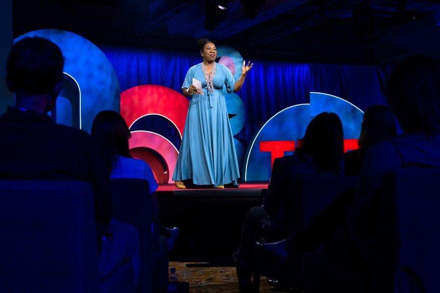 Tarana Burke speaks at the TEDWomen conference.