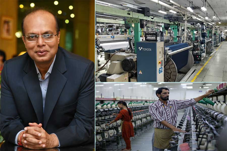 Rajendra Agarwal ( L). Textile mill workers in a plant.