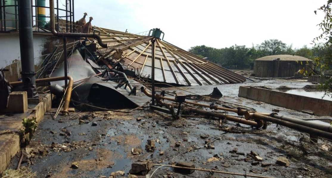 Chemical mixed water from a factory boiler that collapsed at a sugar factory near Maddur, on Tuesday, has destroyed over 100 acres of farmland and injured a factory employee. It is learnt that theboilerwas damaged but not replaced. DH photo