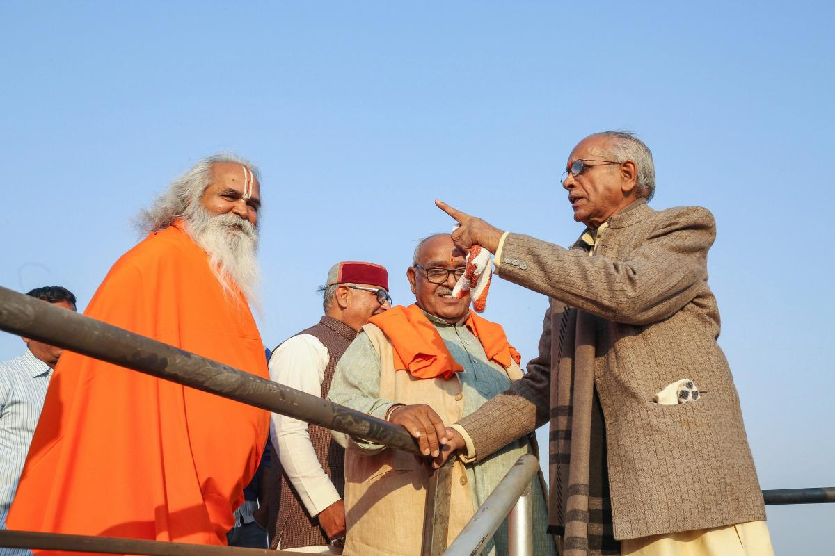 Vishwa Hindu Parishad (VHP) international vice president Champat Rai (R) and Ram Vilas Vedanti inspect the preparations for November 25 Dharm Sabha in Ayodhya on Friday. PTI