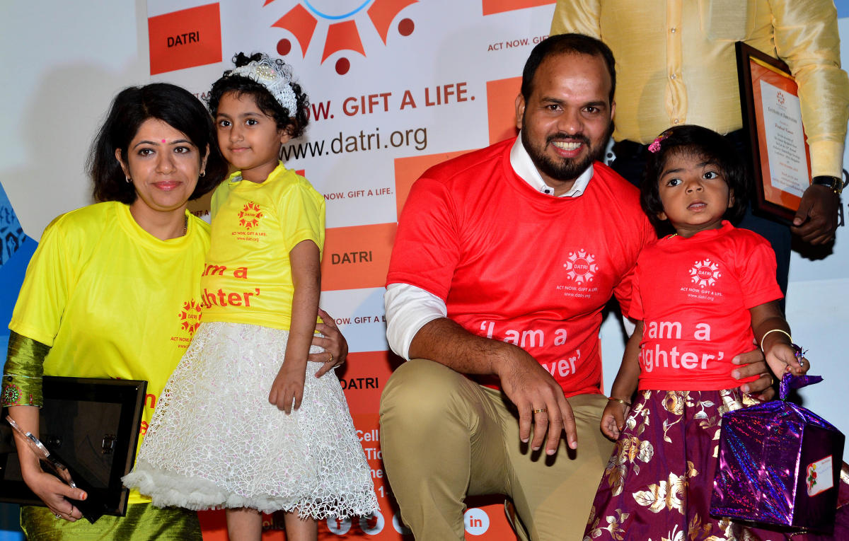 Five-year-old Vanshika (yellow T-shirt), a Thalassemia survivor, with her blood stem cell donor Dr Shruthi Kakkar and three-year-old Disha K G, who was diagnoised withHurler's Syndrome, with her saviour Prakash Kumar at a union of donors and recipient