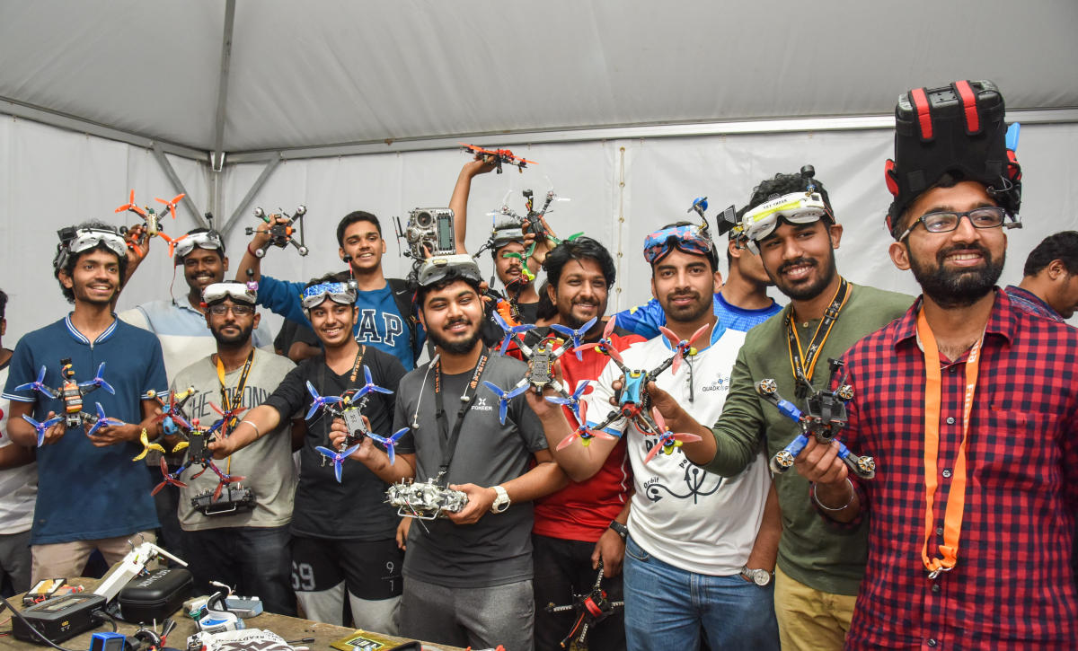 Pilots who took part in the night drone race at the Bengaluru Tech Summit in Bengaluru on November on Friday. Photo by S K Dinesh