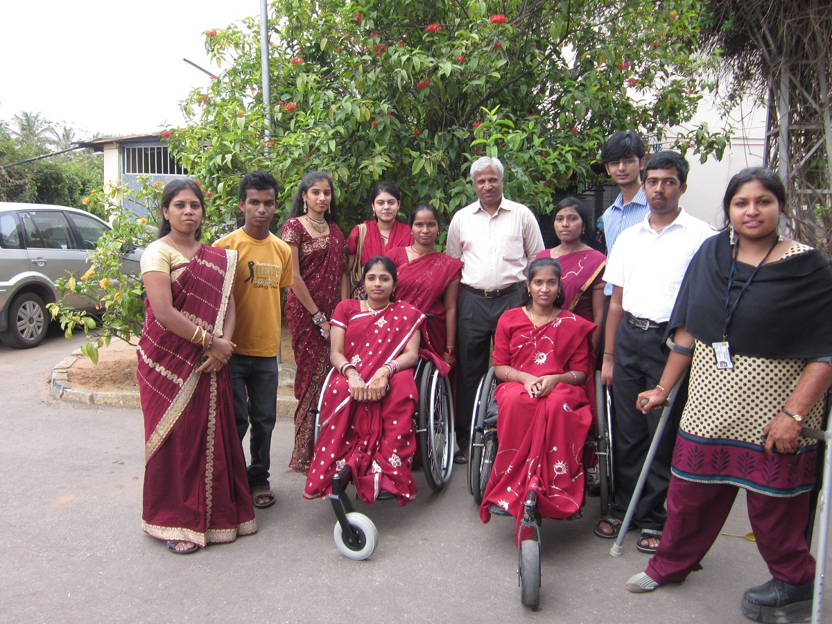 Lekha J (extreme left) with colleagues of The Association Of People With Disability and former students.