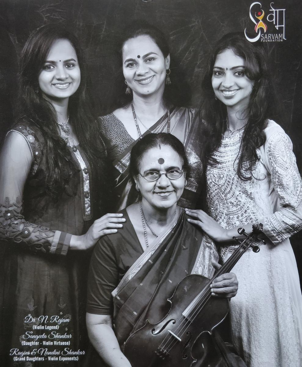 Sitting: N Rajam; Standing (from left) Nandini, Sangeeta and Ragini
