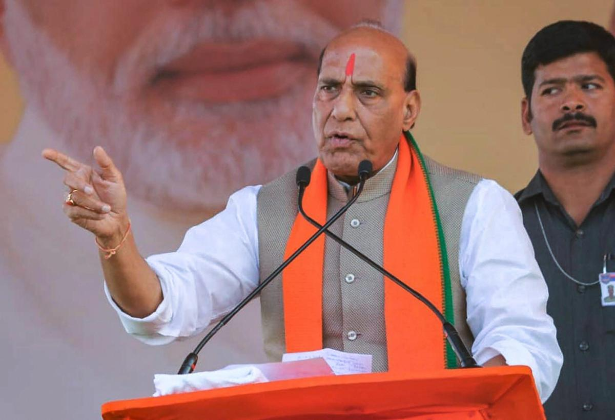 Union Home Minister Rajnath Singh addresses an election rally, in Zaheerabad, Friday, Nov. 30, 2018. (PTI Photo)