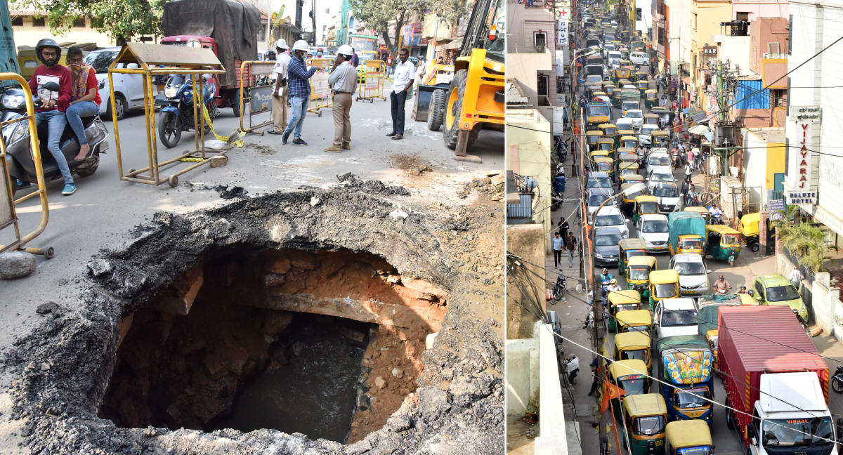 A traffic jam on Cottonpet Main Road after a portion of the stretch caved in on Saturday. DH PHOTO/ Janardhan B K