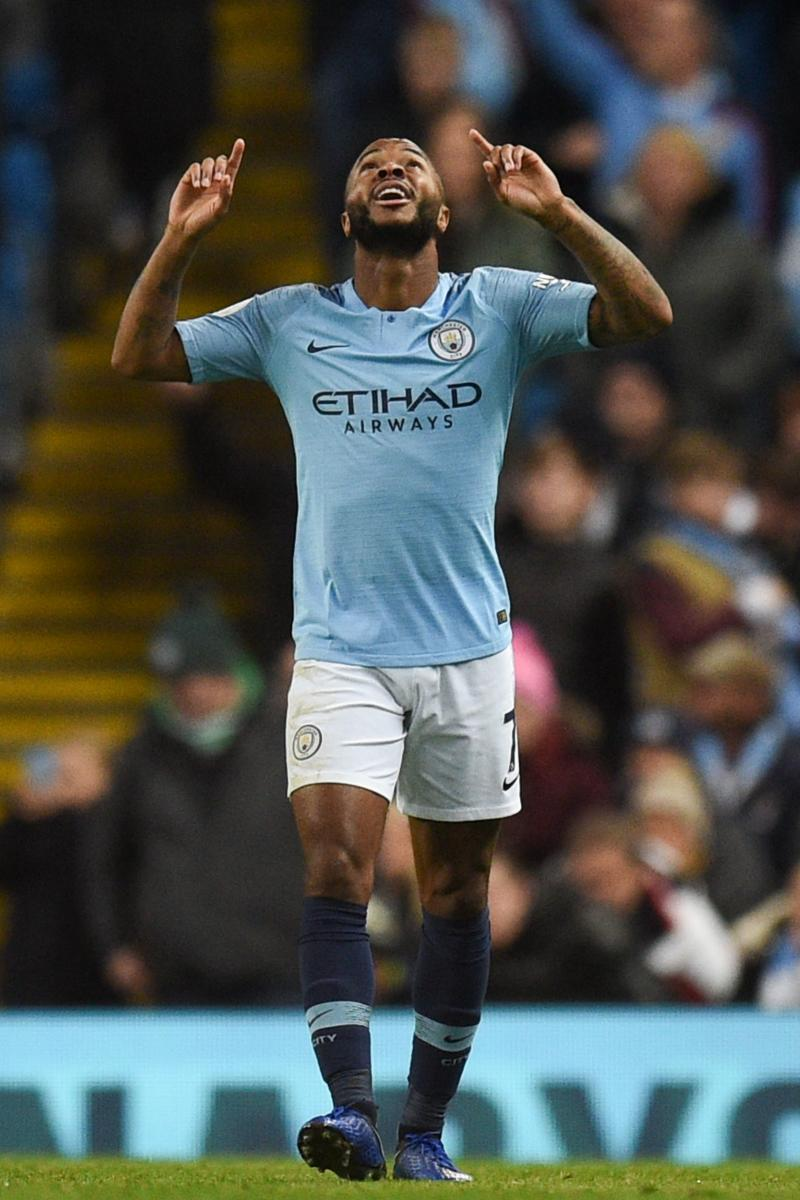 Manchester City's Raheem Sterling celebrates after scoring against Bournemouth on Saturday. AFP