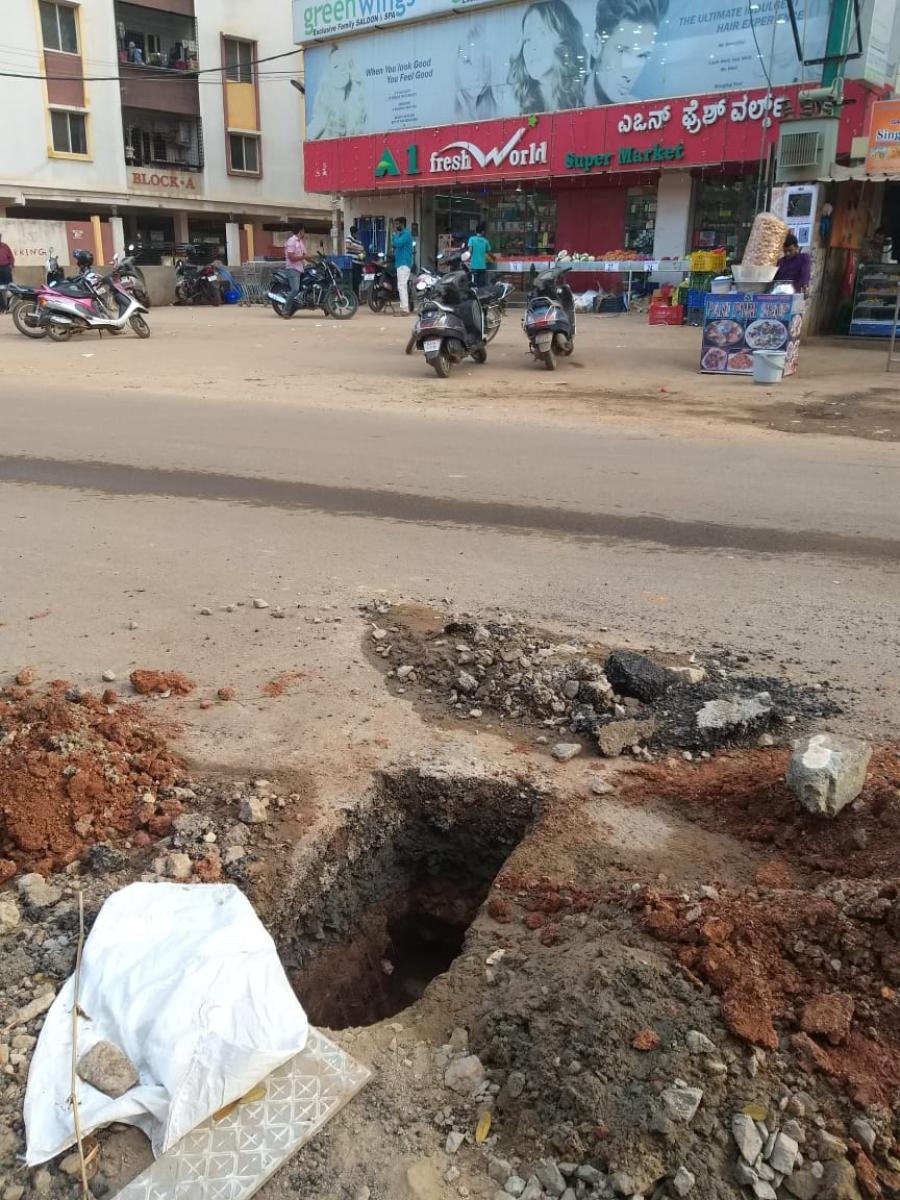 A dug up road in Dasarahalli