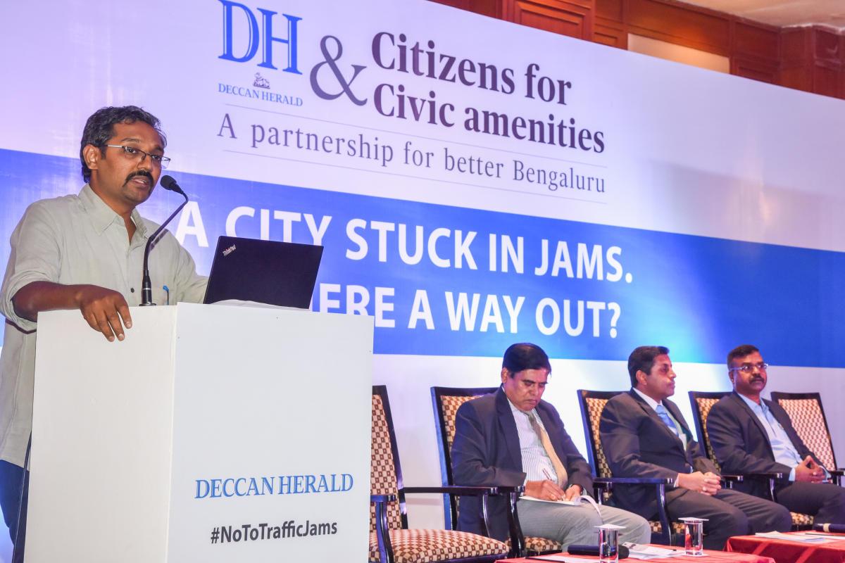 Vinay Sreenivasa, of Alternative Law Forum, speaks at the event.