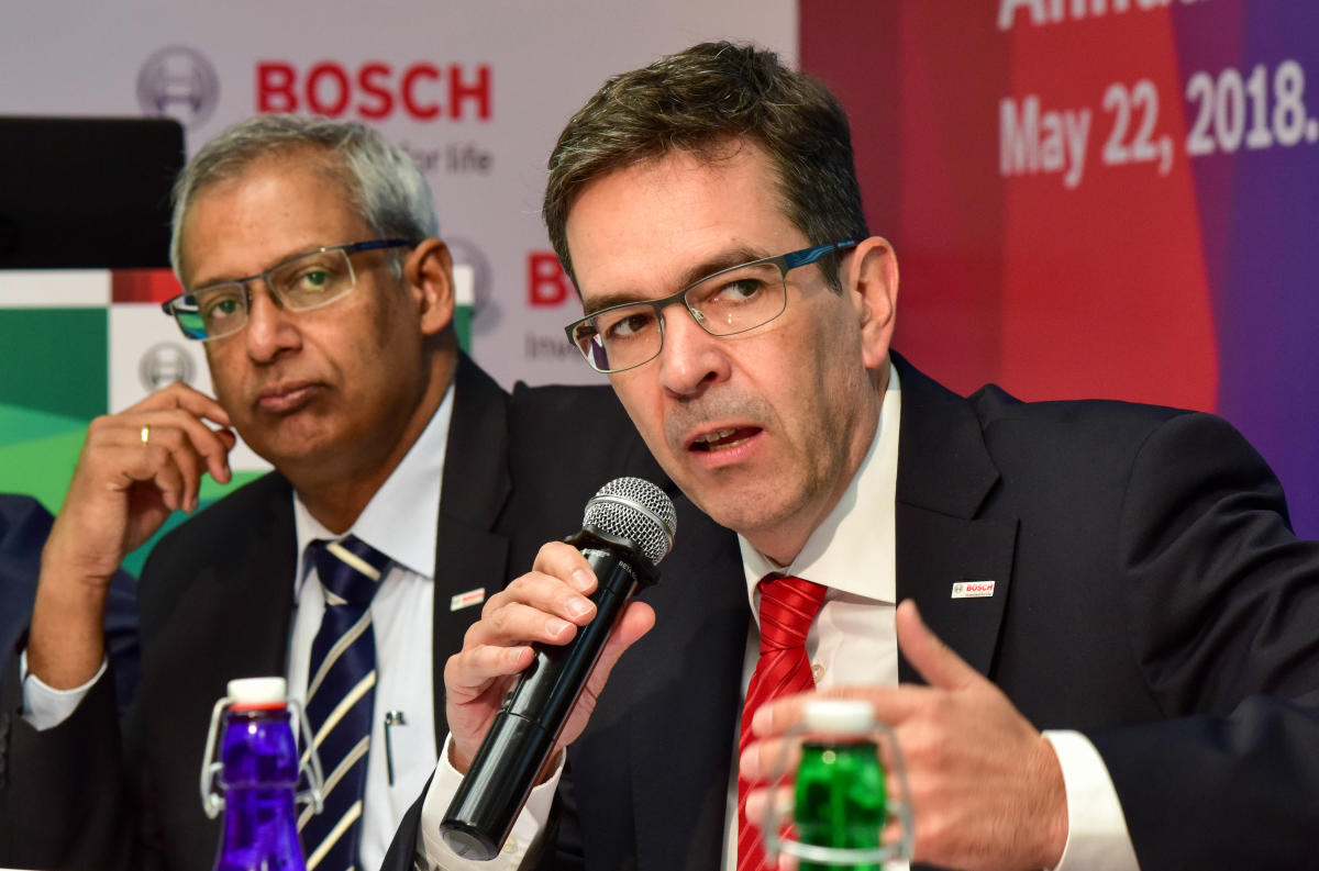 Soumitra Bhattacharya, Managing Director, Bosch Limited (left) and Jan O Rohrl, Chief Technology Officer & Director, Bosch Limited, at the press conference in Bengaluru on Tuesday. DH Photo