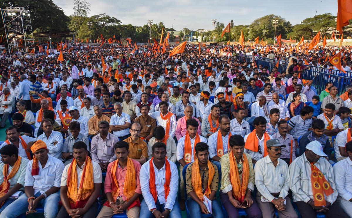 A view of the crowd at the Janaagraha meet organised to demand the construction of a Ram temple at Ayodhya, in Bengaluru on Sunday. dh photo