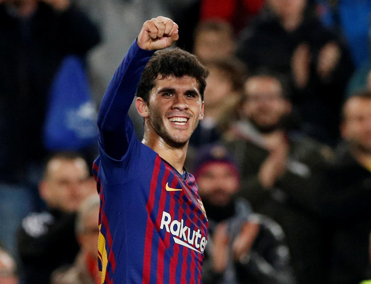 Barcelona's Carles Alena celebrates scoring their second goal against Villarreal on Sunday. REUTERS