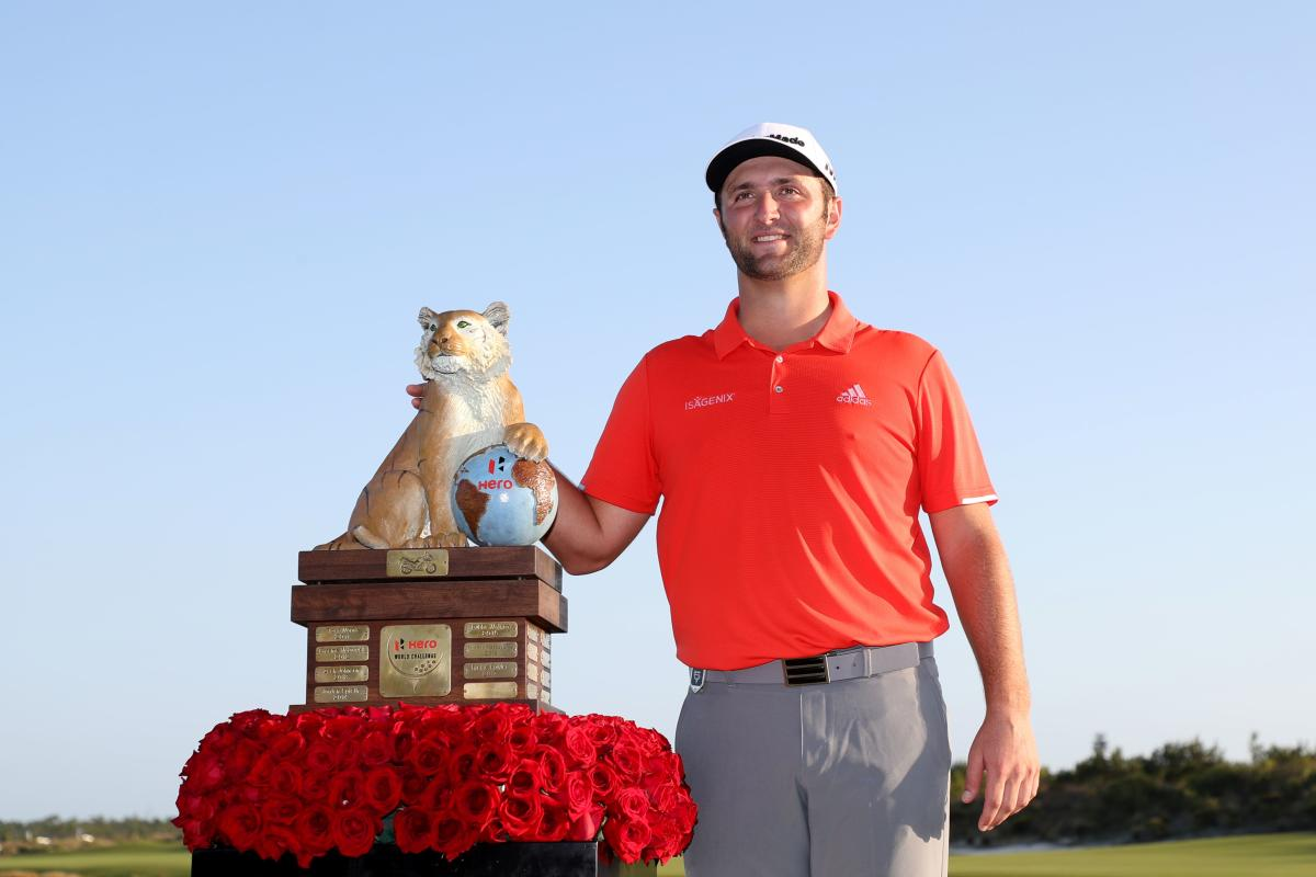 ALL SMILES: Spain's Jon Rahm poses with the Hero World Challenge trophy at Albany, Bahamas on Sunday. AFP