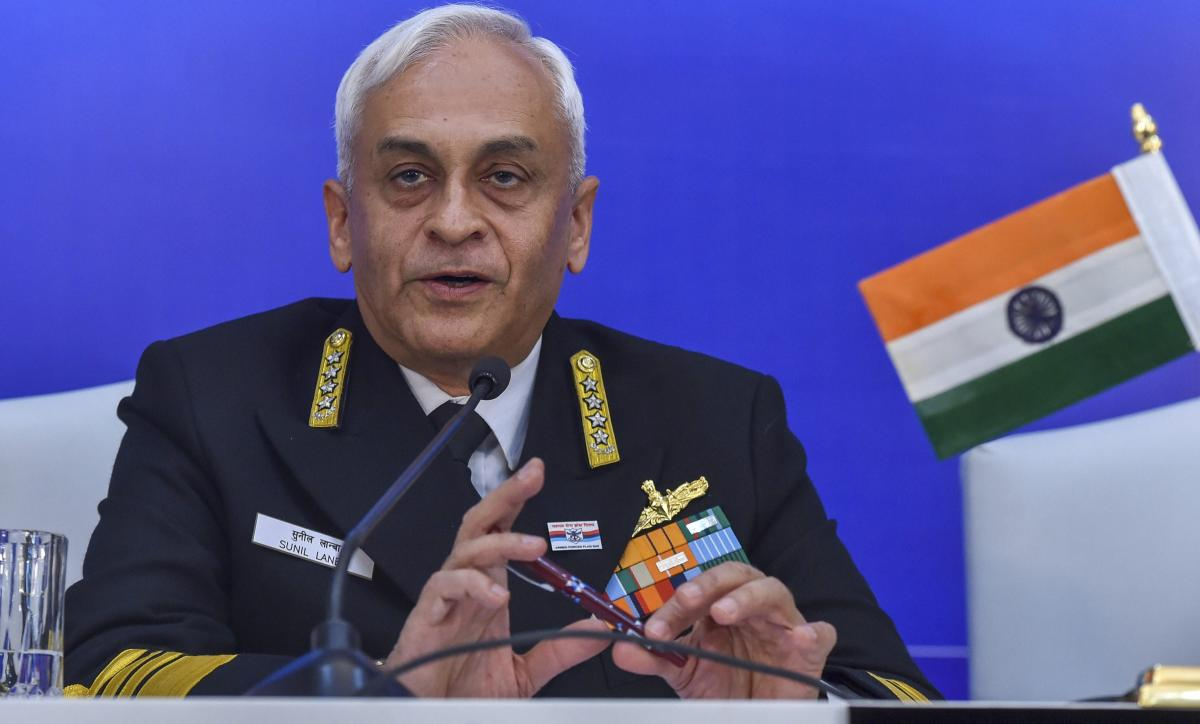 Chief of the Naval Staff Admiral Sunil Lanba at a press conference in New Delhi on Monday. PTI