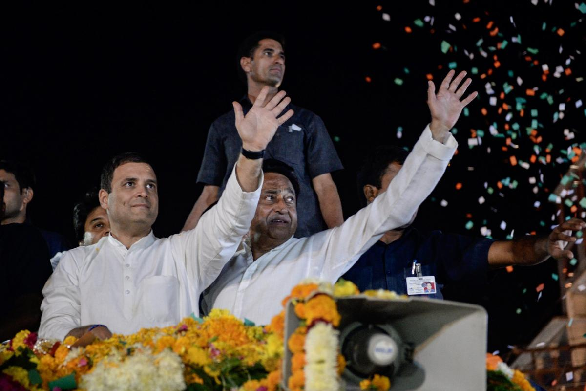 Leading from the front, Congress President Rahul Gandhi addressed 82 rallies since October 7 when elections were announced for Madhya Pradesh, Rajasthan, Mizoram, Telangana and Chhattisgarh assemblies. (PTI File Photo)
