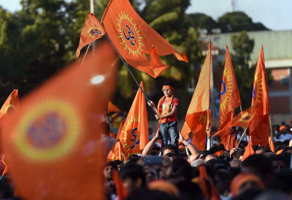 VHP activists during a procession in prior to their 'Janagraha Rally', organised to push for the construction of the Ram Temple in Ayodhya, in Bengaluru. (PTI Photo)