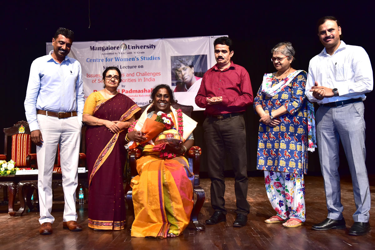 Transgender rights activist and Ondede founder Akkai Padmashali was felicitated during a special lecture on issues, problems and challenges of sexual minorities in India, organised by the Centre for Women's Studies at Mangalore University on Monday.