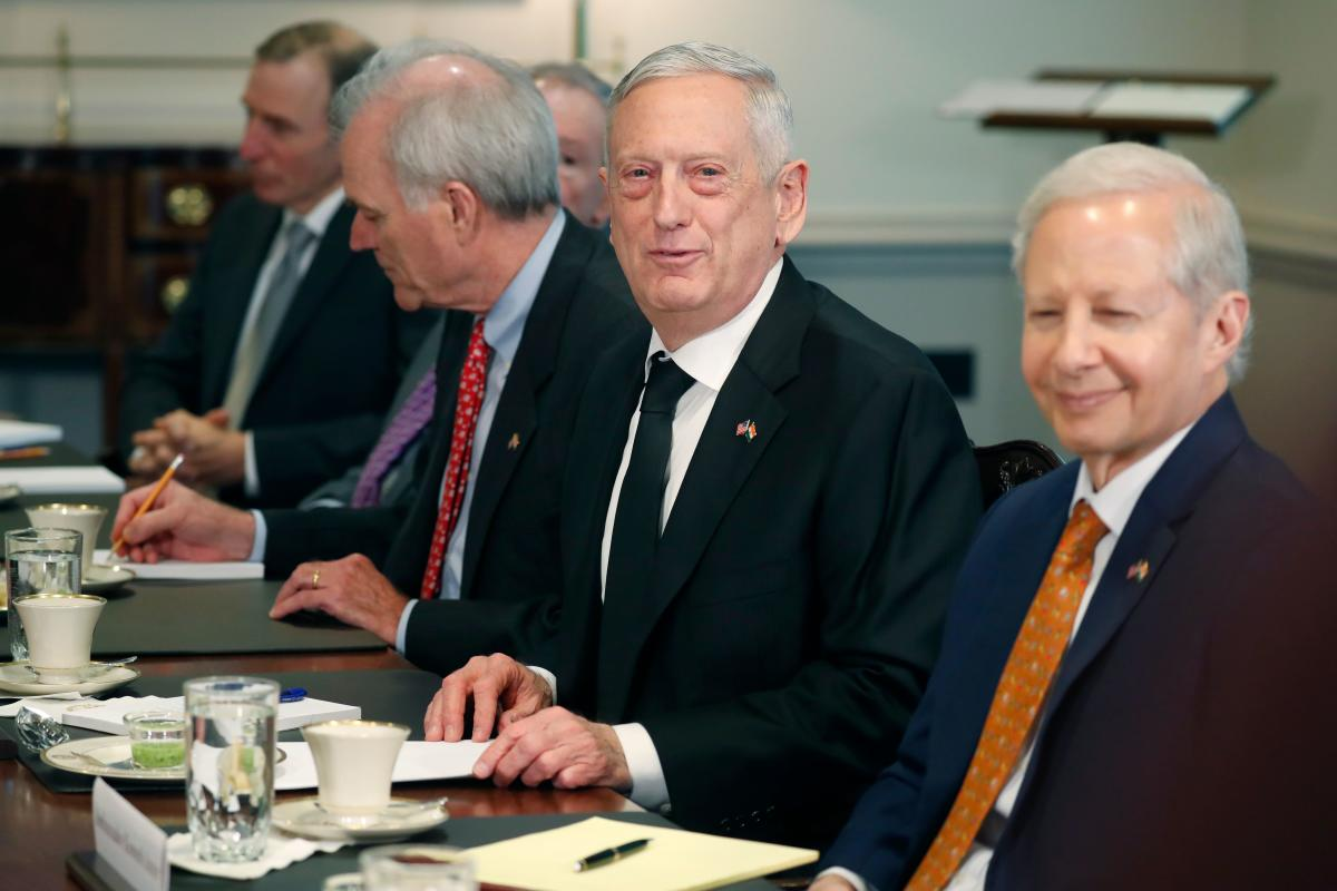 US Defense Secretary Jim Mattis (C) addresses reporters questions during a meeting with the Defence Minister of India Nirmala Sitharaman (not in photo) at the Pentagon in Washington, DC on December 3, 2018. (AFP Photo)